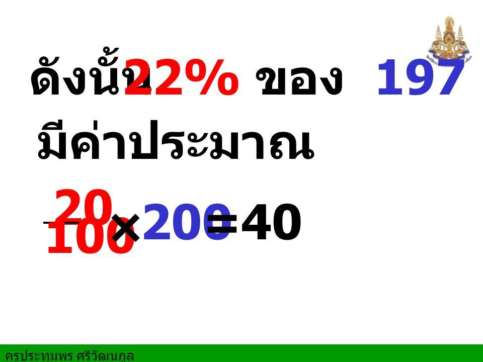 ครูประทุมพร ศรีวัฒนกูล ดังนั้น 22% ของ 197 มีค่าประมาณ 20 100 × 20040=