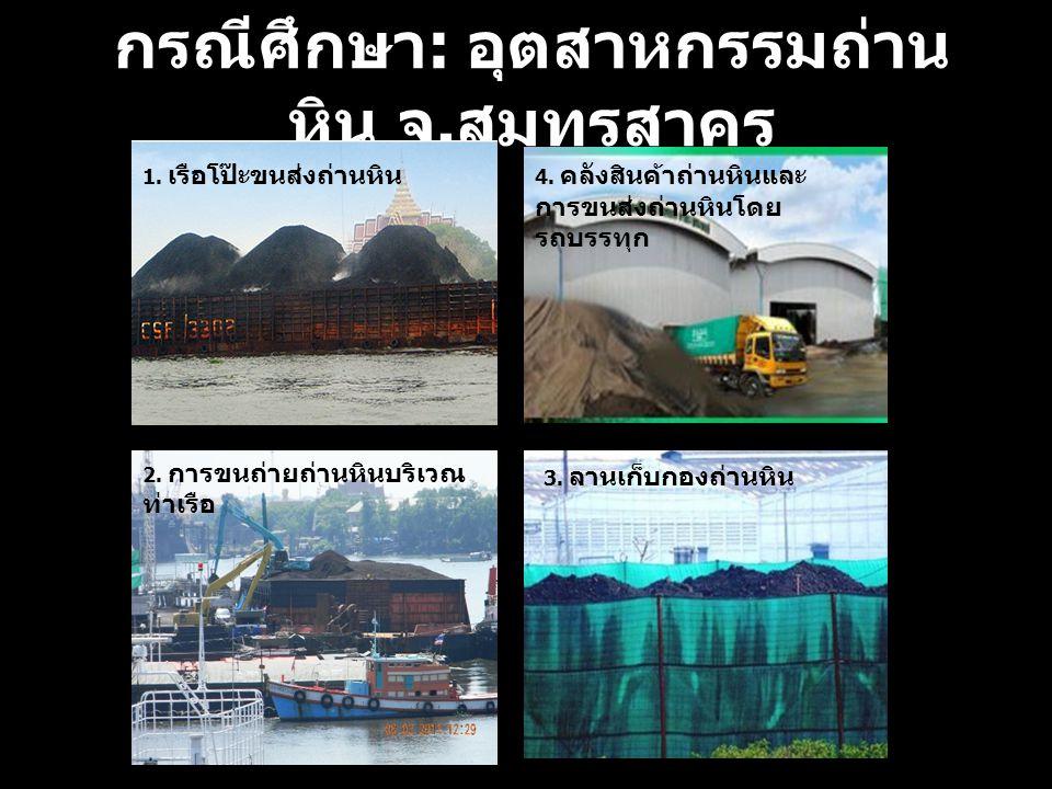 กรณีศึกษา : อุตสาหกรรมถ่าน หิน จ. สมุทรสาคร 1. เรือโป๊ะขนส่งถ่านหิน 2.