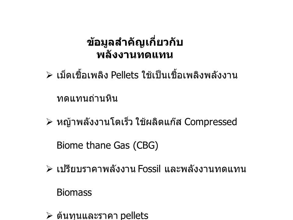 ข้อมูลสำคัญเกี่ยวกับ พลังงานทดแทน  เม็ดเชื้อเพลิง Pellets ใช้เป็นเชื้อเพลิงพลังงาน ทดแทนถ่านหิน  หญ้าพลังงานโตเร็ว ใช้ผลิตแก๊ส Compressed Biome thane Gas (CBG)  เปรียบราคาพลังงาน Fossil และพลังงานทดแทน Biomass  ต้นทุนและราคา pellets