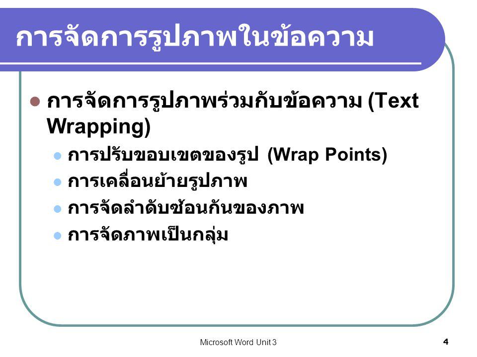 Microsoft Word Unit 34 การจัดการรูปภาพในข้อความ การจัดการรูปภาพร่วมกับข้อความ (Text Wrapping) การปรับขอบเขตของรูป (Wrap Points) การเคลื่อนย้ายรูปภาพ ก