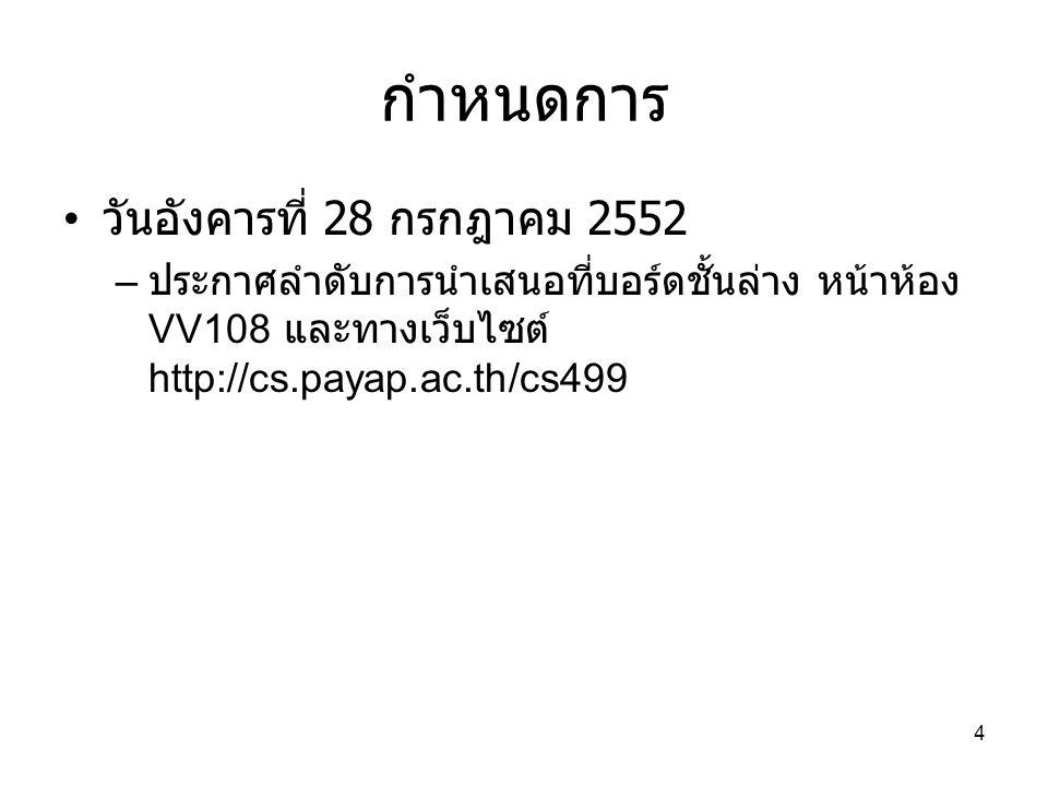 กำหนดการ วันอังคารที่ 28 กรกฎาคม 2552 – ประกาศลำดับการนำเสนอที่บอร์ดชั้นล่าง หน้าห้อง VV108 และทางเว็บไซต์ http://cs.payap.ac.th/cs499 4