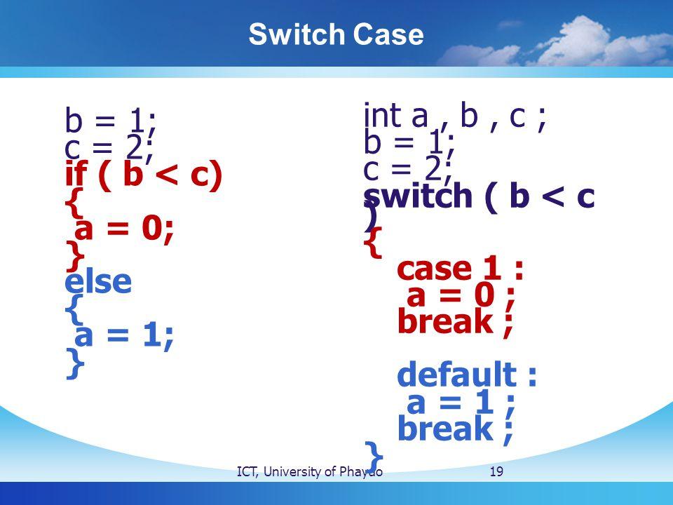 Switch Case ICT, University of Phayao19 b = 1; c = 2; if ( b < c) { a = 0; } else { a = 1; } int a, b, c ; b = 1; c = 2; switch ( b < c ) { case 1 : a = 0 ; break ; default : a = 1 ; break ; }