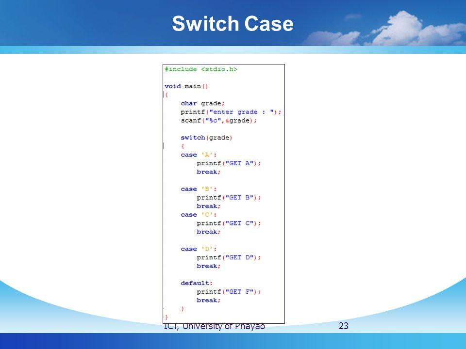 Switch Case ICT, University of Phayao23