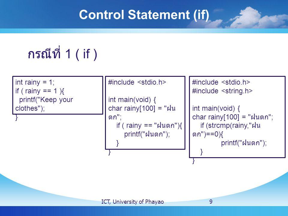 Switch Case ICT, University of Phayao20 switch ( คำถาม ) { case คำตอบที่ 1 : สิ่งที่ต้องการให้ทำ ; break ; // ออกจากเงื่อนไข switch case คำตอบที่ 2 : สิ่งที่ต้องการให้ทำ ; break ;// ออกจากเงื่อนไข switch default :// กรณี ไม่มีคำตอบ สิ่งทีต้องการให้ทำ ; break ; // ออกจากเงื่อนไข switch } * ให้สังเกต - เครื่องหมาย หลัง case - เครื่องหมายหลังสิ่งที่ต้องการให้ทำ - และ เครื่องหมายหลัง break