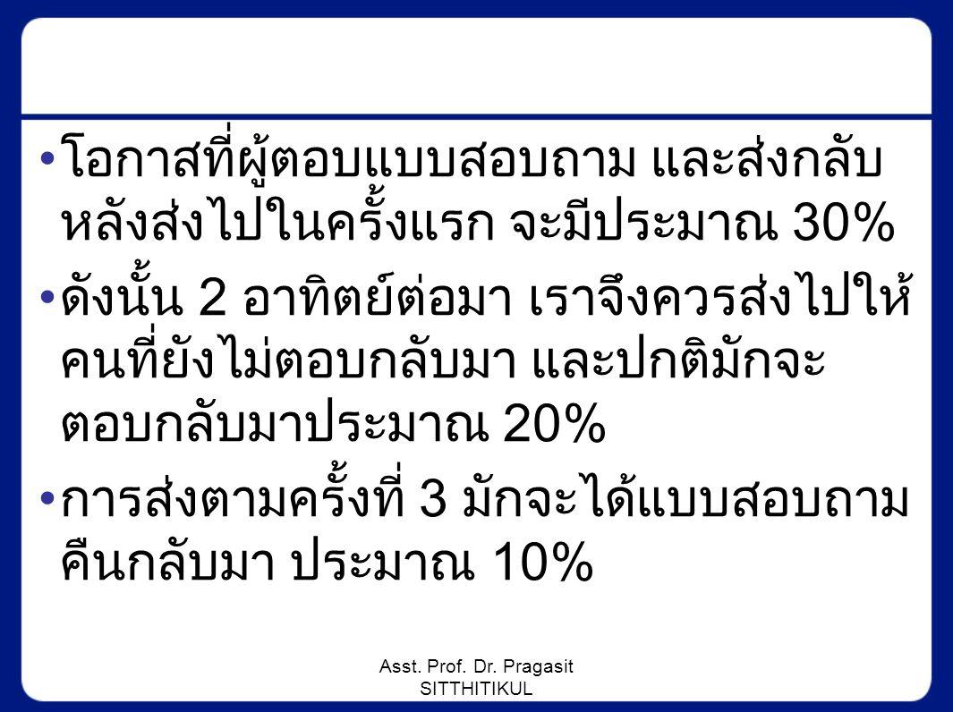Asst. Prof. Dr. Pragasit SITTHITIKUL โอกาสที่ผู้ตอบแบบสอบถาม และส่งกลับ หลังส่งไปในครั้งแรก จะมีประมาณ 30% ดังนั้น 2 อาทิตย์ต่อมา เราจึงควรส่งไปให้ คน