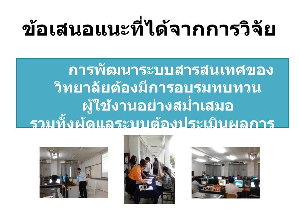 ข้อเสนอแนะที่ได้จากการวิจัย การพัฒนาระบบสารสนเทศของ วิทยาลัยต้องมีการอบรมทบทวน ผู้ใช้งานอย่างสม่ำเสมอ รวมทั้งผู้ดูแลระบบต้องประเมินผลการ ให้บริการอย่า