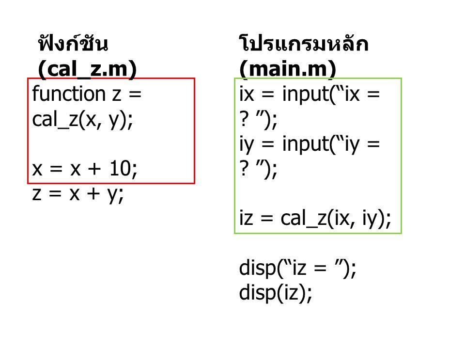 """โปรแกรมหลัก (main.m) ix = input(""""ix = ? """"); iy = input(""""iy = ? """"); iz = cal_z(ix, iy); disp(""""iz = """"); disp(iz); function z = cal_z(x, y); x = x + 10;"""
