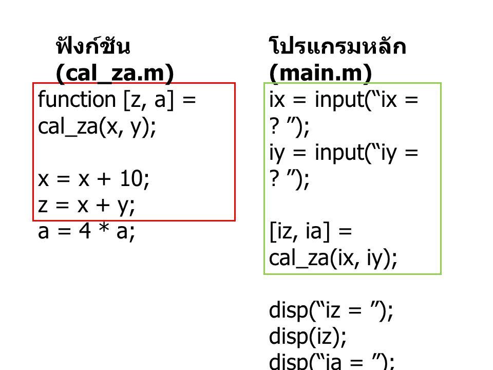 """โปรแกรมหลัก (main.m) ix = input(""""ix = ? """"); iy = input(""""iy = ? """"); [iz, ia] = cal_za(ix, iy); disp(""""iz = """"); disp(iz); disp(""""ia = """"); disp(ia); functi"""