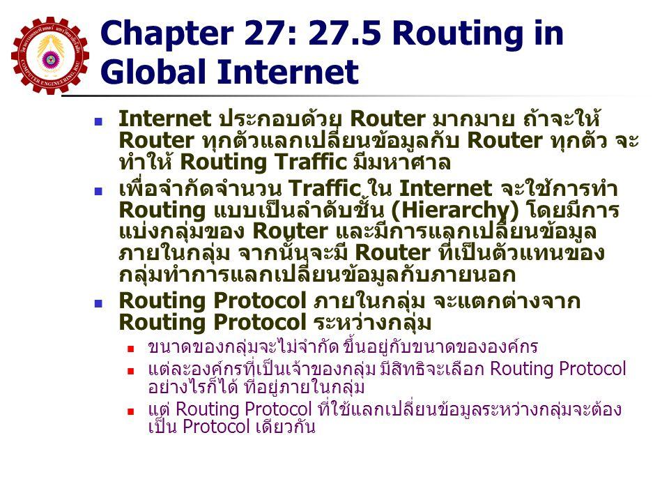 Chapter 27: 27.5 Routing in Global Internet Internet ประกอบด้วย Router มากมาย ถ้าจะให้ Router ทุกตัวแลกเปลี่ยนข้อมูลกับ Router ทุกตัว จะ ทำให้ Routing