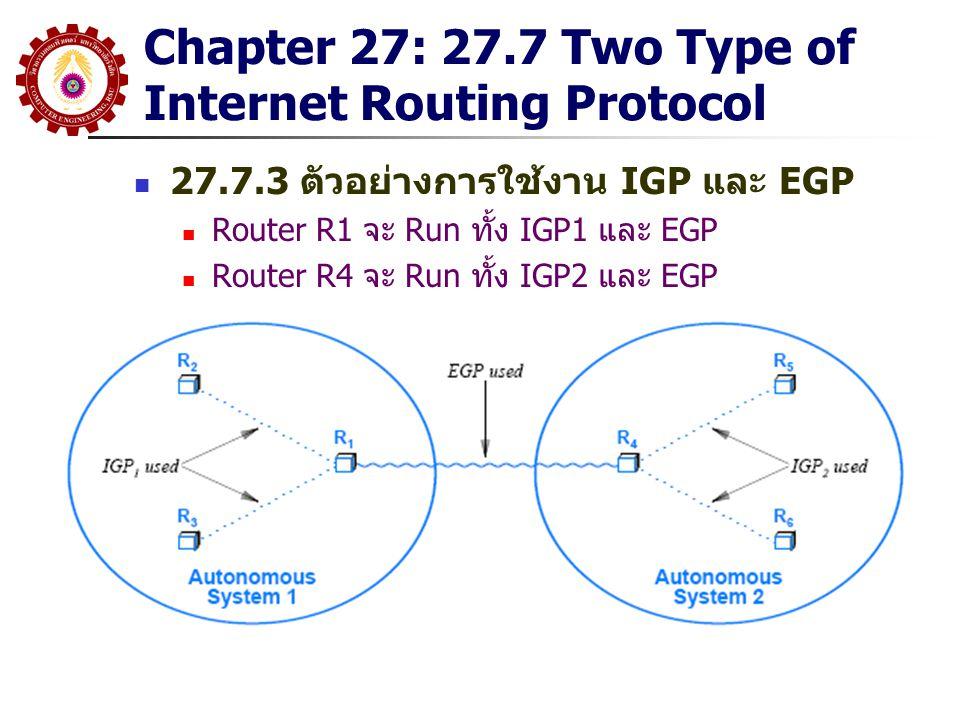 Chapter 27: 27.7 Two Type of Internet Routing Protocol 27.7.3 ตัวอย่างการใช้งาน IGP และ EGP Router R1 จะ Run ทั้ง IGP1 และ EGP Router R4 จะ Run ทั้ง I