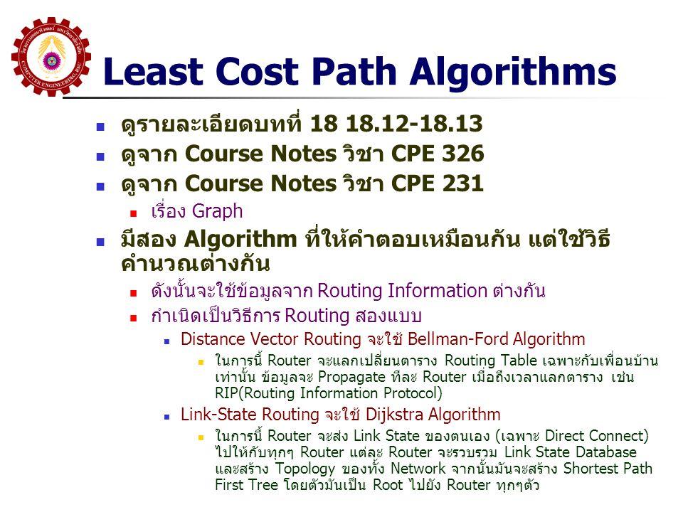 Least Cost Path Algorithms ดูรายละเอียดบทที่ 18 18.12-18.13 ดูจาก Course Notes วิชา CPE 326 ดูจาก Course Notes วิชา CPE 231 เรื่อง Graph มีสอง Algorit