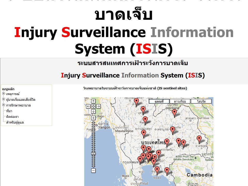 2 ระบบสารสนเทศการเฝ้าระวังการ บาดเจ็บ Injury Surveillance Information System (ISIS) (URL: K4DS.org/~isis หรือ bit.ly/isisthai54)