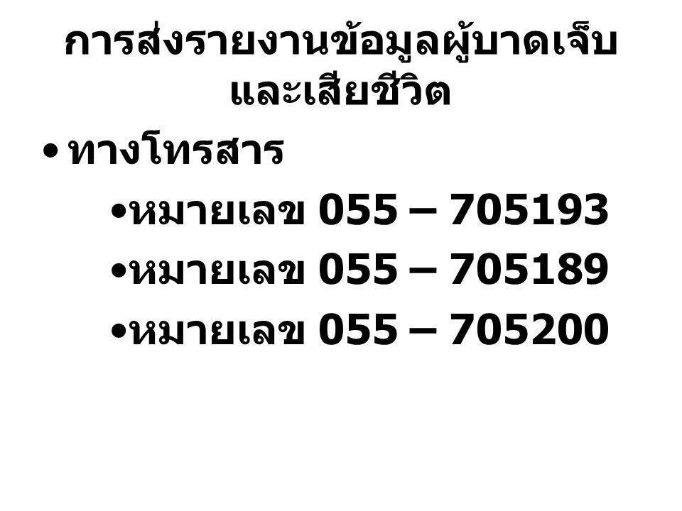 การส่งรายงานข้อมูลผู้บาดเจ็บ และเสียชีวิต ทางโทรสาร หมายเลข 055 – 705193 หมายเลข 055 – 705189 หมายเลข 055 – 705200