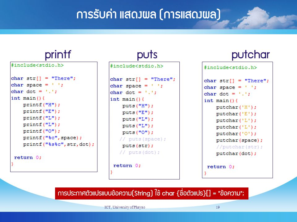 การรับค่า แสดงผล (การแสดงผล) ICT, University of Phayao19 printfputsputchar การประกาศตัวแปรแบบข้อความ(String) ใช้ char {ชื่อตัวแปร}[] =