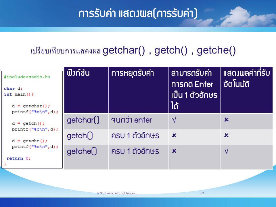 การรับค่า แสดงผล(การรับค่า) เปรียบเทียบการแสดงผล getchar(), getch(), getche() ICT, University of Phayao22 ฟังก์ชันการหยุดรับค่าสามารถรับค่า การกด Ente