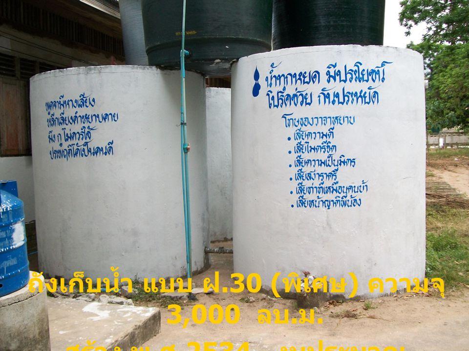ถังเก็บน้ำ แบบ ฝ.30 ( พิเศษ ) ความจุ 3,000 ลบ. ม. สร้าง พ. ศ.2534 งบประมาณ 71,500 บาท