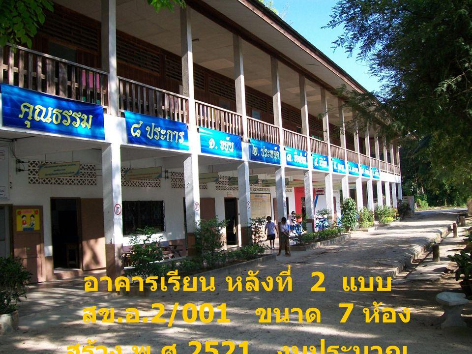อาคารเรียน หลังที่ 2 แบบ สข. อ.2/001 ขนาด 7 ห้อง สร้าง พ. ศ.2521 งบประมาณ 536,500 บาท