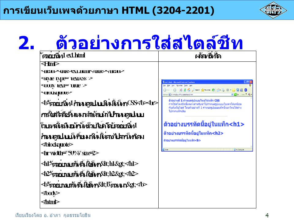 เรียบเรียงโดย อ.อำภา กุลธรรมโยธิน การเขียนเว็บเพจด้วยภาษา HTML (3204-2201) 5 3.