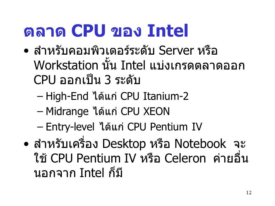 12 ตลาด CPU ของ Intel สำหรับคอมพิวเตอร์ระดับ Server หรือ Workstation นั้น Intel แบ่งเกรดตลาดออก CPU ออกเป็น 3 ระดับ –High-End ได้แก่ CPU Itanium-2 –Mi