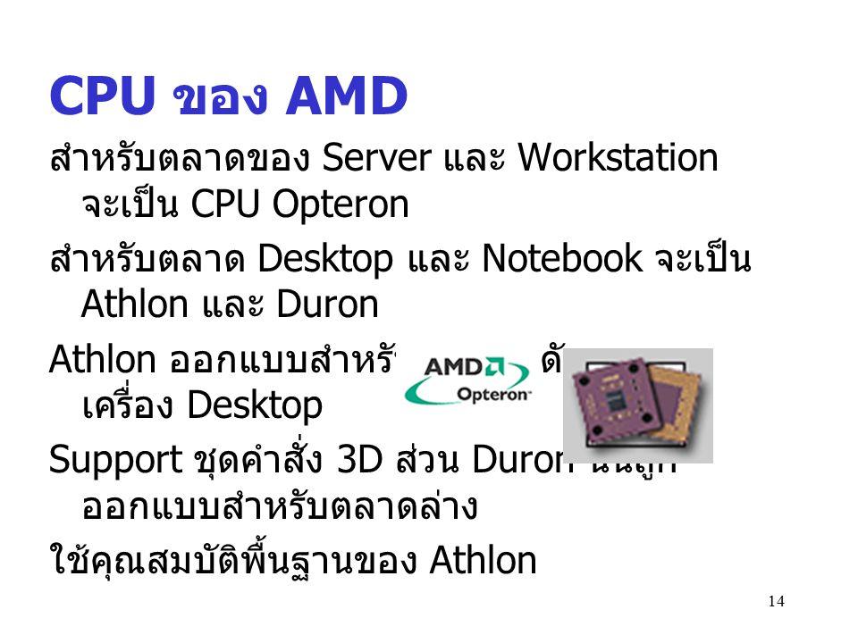 14 CPU ของ AMD สำหรับตลาดของ Server และ Workstation จะเป็น CPU Opteron สำหรับตลาด Desktop และ Notebook จะเป็น Athlon และ Duron Athlon ออกแบบสำหรับตลาด
