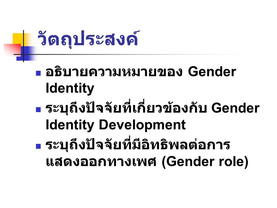 วัตถุประสงค์ อธิบายความหมายของ Gender Identity ระบุถึงปัจจัยที่เกี่ยวข้องกับ Gender Identity Development ระบุถึงปัจจัยที่มีอิทธิพลต่อการ แสดงออกทางเพศ (Gender role)