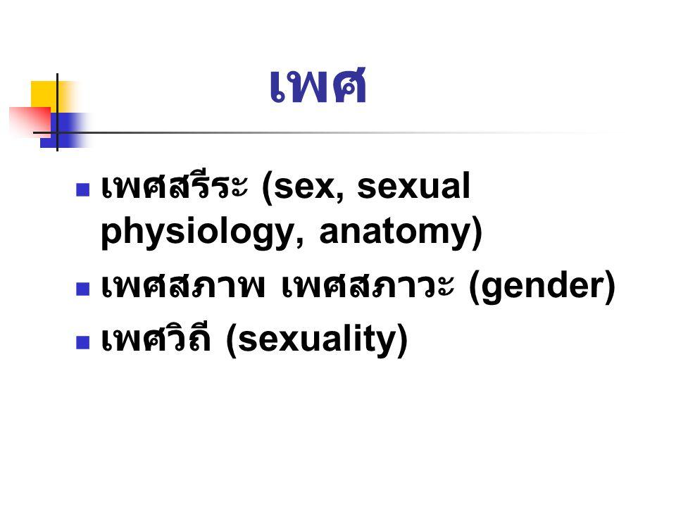 เพศ เพศสรีระ (sex, sexual physiology, anatomy) เพศสภาพ เพศสภาวะ (gender) เพศวิถี (sexuality)
