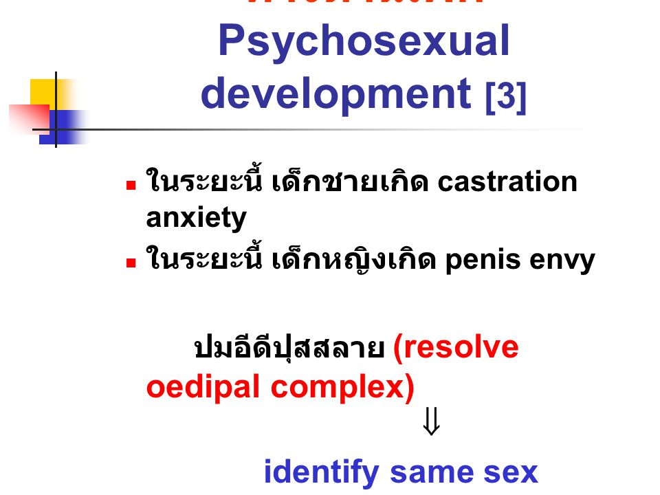 Psychosexual factors: 4 types 1.Sexual identity: ลักษณะทางเพศในด้าน ชีวภาพ 2.