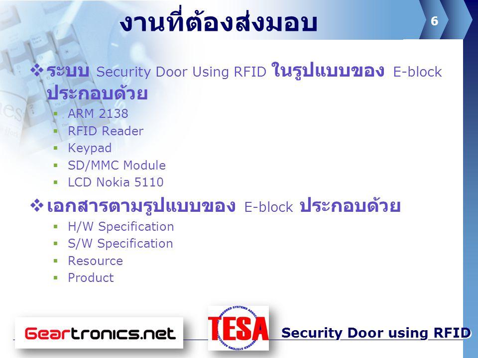 7 Security Door using RFID แผนการทำงานในสัปดาห์หน้า  ออกแบบ interface ของ LCD Nokia 5110  ปรับปรุง application ให้เหมาะกับการใช้งาน  ปรับปรุงเอกสารเดิม