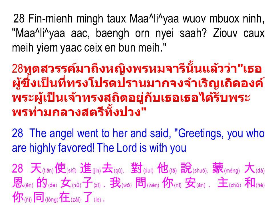 28 Fin-mienh mingh taux Maa^li^yaa wuov mbuox ninh, Maa^li^yaa aac, baengh orn nyei saah.