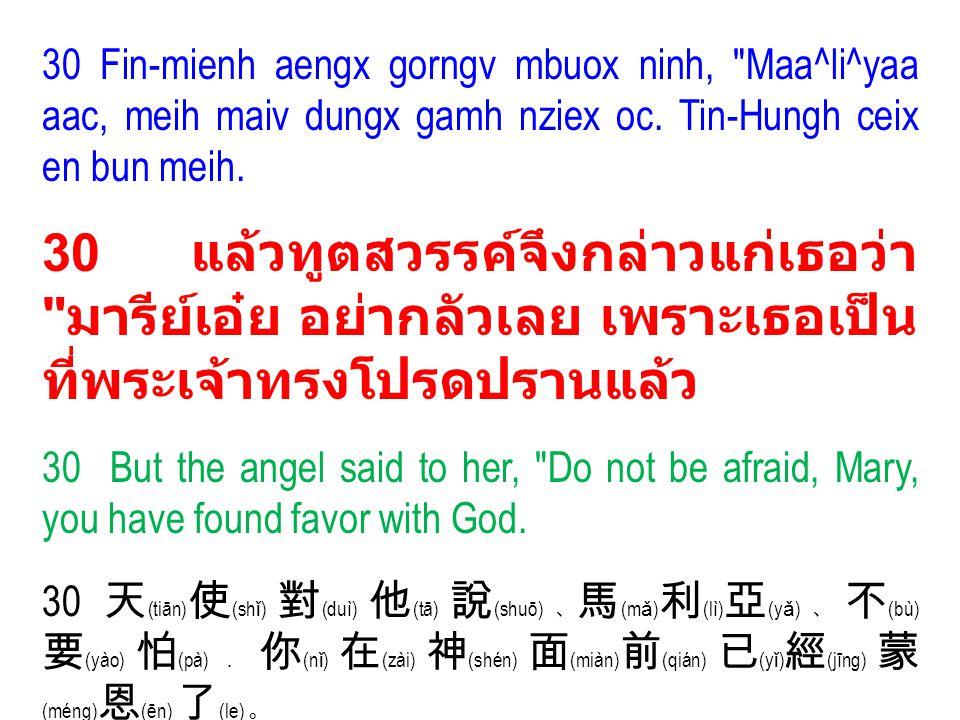 (3) Ninh oix duqv heuc benx Yiem Hlang Jiex Wuov Dauh nyei Dorn (32) จะทรงเรียกว่าเป็นบุตรของพระ เจ้าสูงสุด ( ๓๒ ) He will be called the Son of the Most High (32).
