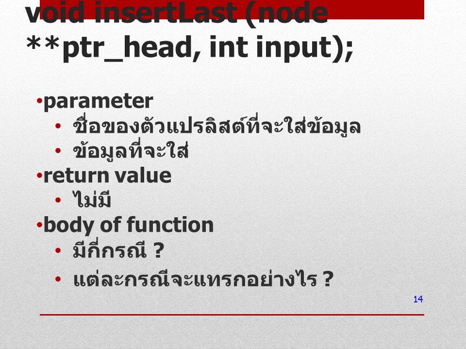 void insertLast (node **ptr_head, int input); parameter ชื่อของตัวแปรลิสต์ที่จะใส่ข้อมูล ข้อมูลที่จะใส่ return value ไม่มี body of function มีกี่กรณี .