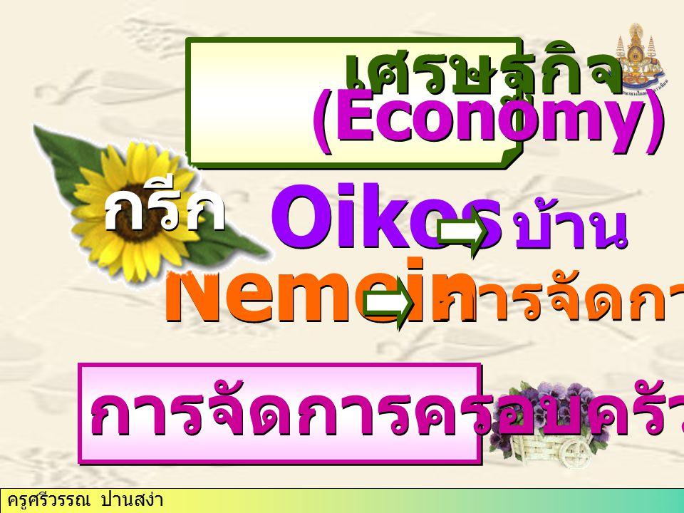 ครูศรีวรรณ ปานสง่า Oikos บ้าน Nemein การจัดการ เศรษฐกิจ เศรษฐกิจ (Economy) (Economy) กรีก การจัดการครอบครัว