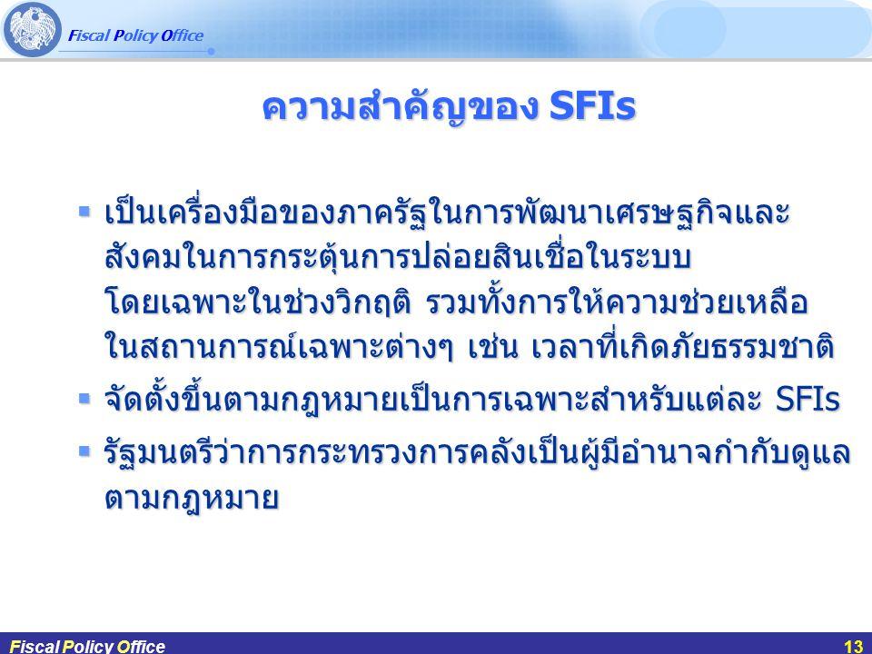Fiscal Policy Office ผศ.ดร.กฤษฎา สังขมณีFiscal Policy Office13 ความสำคัญของ SFIs ความสำคัญของ SFIs Fiscal Policy Office13  เป็นเครื่องมือของภาครัฐในการพัฒนาเศรษฐกิจและ สังคมในการกระตุ้นการปล่อยสินเชื่อในระบบ โดยเฉพาะในช่วงวิกฤติ รวมทั้งการให้ความช่วยเหลือ ในสถานการณ์เฉพาะต่างๆ เช่น เวลาที่เกิดภัยธรรมชาติ  จัดตั้งขึ้นตามกฎหมายเป็นการเฉพาะสำหรับแต่ละ SFIs  รัฐมนตรีว่าการกระทรวงการคลังเป็นผู้มีอำนาจกำกับดูแล ตามกฎหมาย