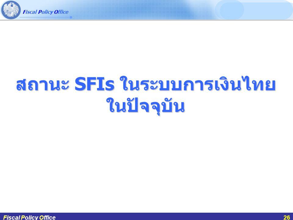 Fiscal Policy Office ผศ.ดร.กฤษฎา สังขมณีFiscal Policy Office26 สถานะ SFIs ในระบบการเงินไทย ในปัจจุบัน Fiscal Policy Office26