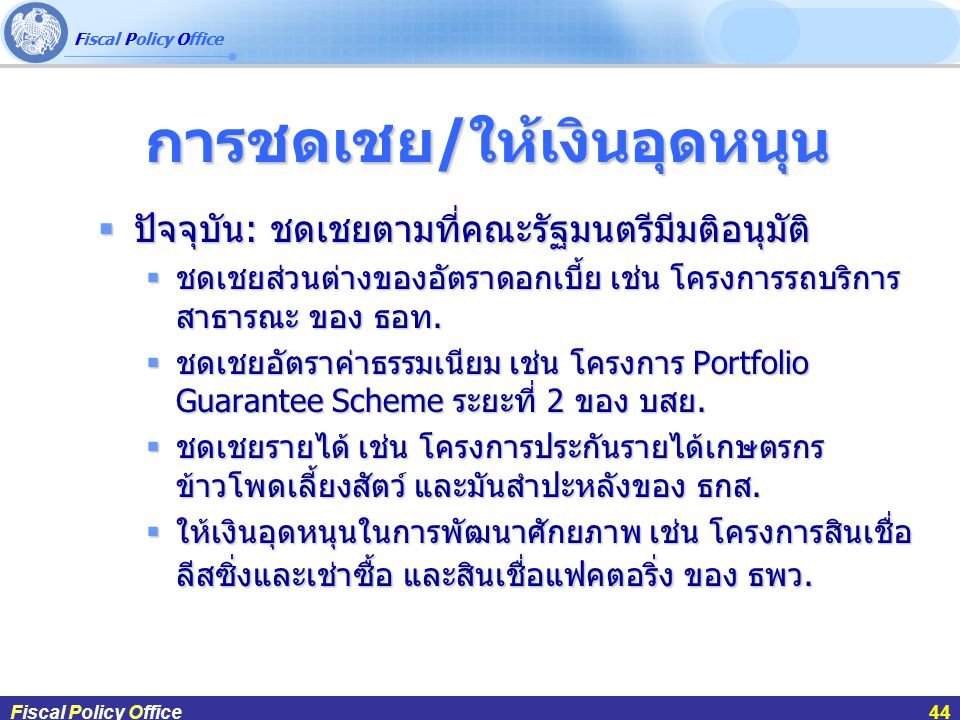 Fiscal Policy Office ผศ.ดร.กฤษฎา สังขมณีFiscal Policy Office44 การชดเชย/ให้เงินอุดหนุน  ปัจจุบัน: ชดเชยตามที่คณะรัฐมนตรีมีมติอนุมัติ  ชดเชยส่วนต่างของอัตราดอกเบี้ย เช่น โครงการรถบริการ สาธารณะ ของ ธอท.