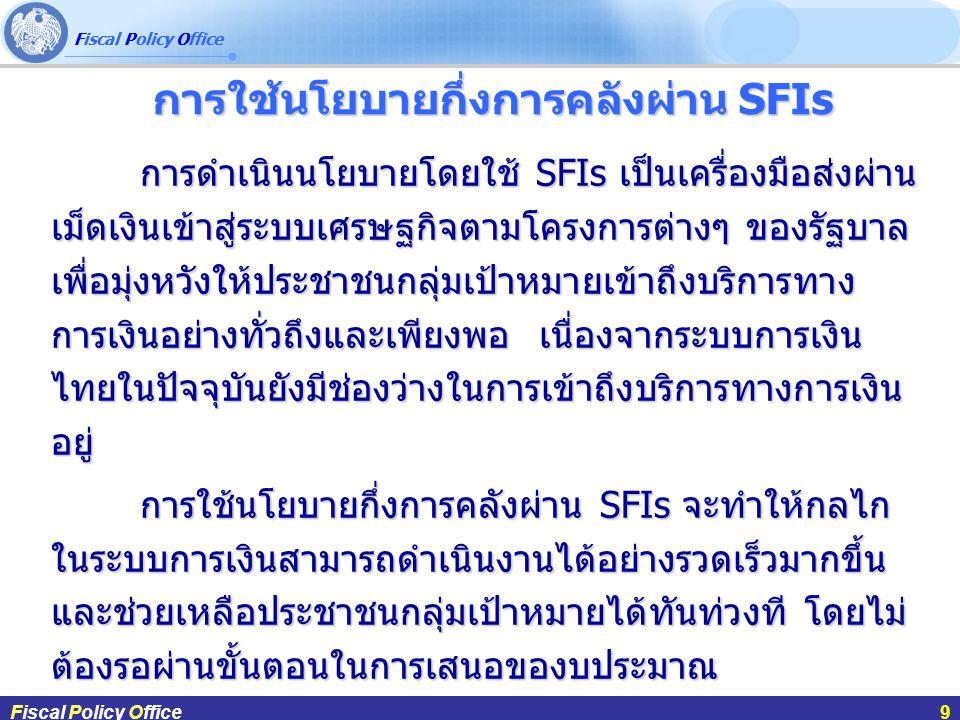 Fiscal Policy Office ผศ.ดร.กฤษฎา สังขมณีFiscal Policy Office9 การใช้นโยบายกึ่งการคลังผ่าน SFIs การดำเนินนโยบายโดยใช้ SFIs เป็นเครื่องมือส่งผ่าน เม็ดเงินเข้าสู่ระบบเศรษฐกิจตามโครงการต่างๆ ของรัฐบาล เพื่อมุ่งหวังให้ประชาชนกลุ่มเป้าหมายเข้าถึงบริการทาง การเงินอย่างทั่วถึงและเพียงพอ เนื่องจากระบบการเงิน ไทยในปัจจุบันยังมีช่องว่างในการเข้าถึงบริการทางการเงิน อยู่ การใช้นโยบายกึ่งการคลังผ่าน SFIs จะทำให้กลไก ในระบบการเงินสามารถดำเนินงานได้อย่างรวดเร็วมากขึ้น และช่วยเหลือประชาชนกลุ่มเป้าหมายได้ทันท่วงที โดยไม่ ต้องรอผ่านขั้นตอนในการเสนอของบประมาณ Fiscal Policy Office9