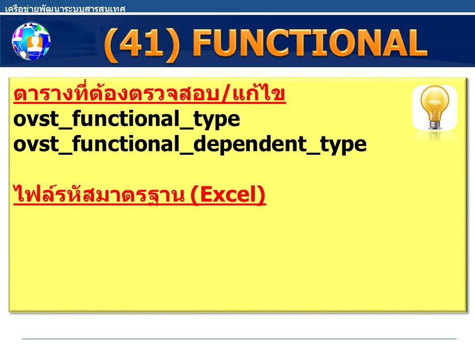 ตารางที่ต้องตรวจสอบ / แก้ไข ovst_functional_type ovst_functional_dependent_type ไฟล์รหัสมาตรฐาน (Excel) ตารางที่ต้องตรวจสอบ / แก้ไข ovst_functional_type ovst_functional_dependent_type ไฟล์รหัสมาตรฐาน (Excel)