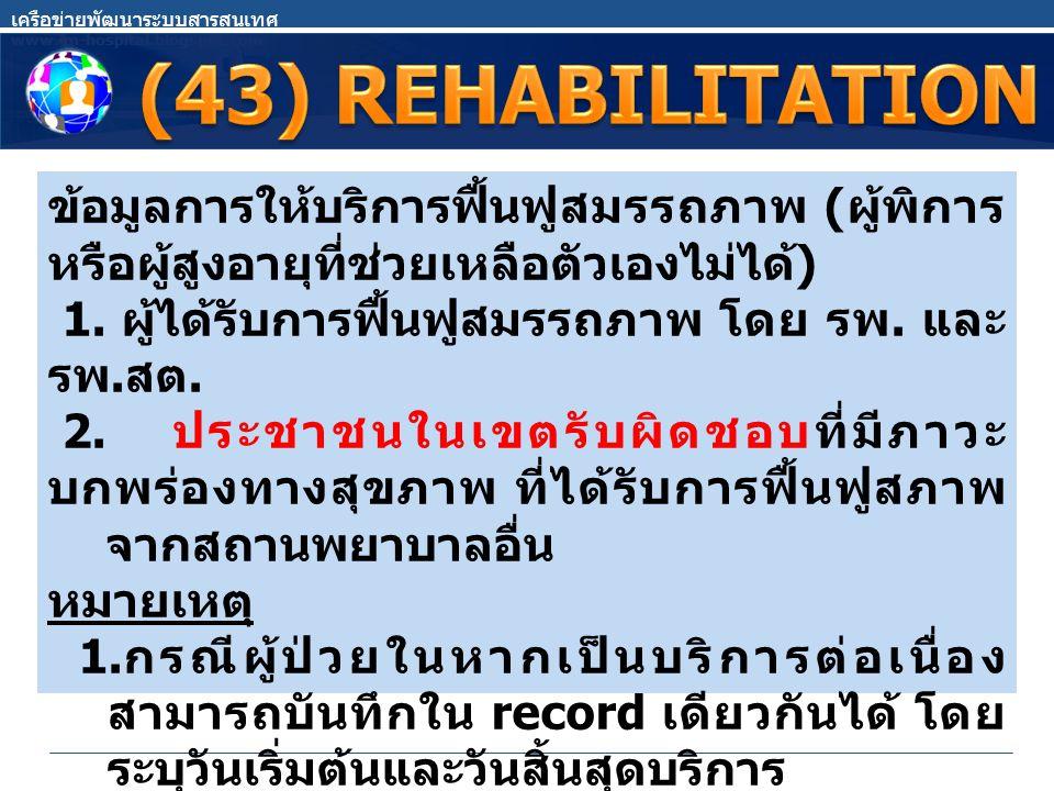 ข้อมูลการให้บริการฟื้นฟูสมรรถภาพ ( ผู้พิการ หรือผู้สูงอายุที่ช่วยเหลือตัวเองไม่ได้ ) 1.