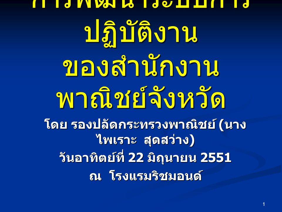 1 การพัฒนาระบบการ ปฏิบัติงาน ของสำนักงาน พาณิชย์จังหวัด โดย รองปลัดกระทรวงพาณิชย์ ( นาง ไพเราะ สุดสว่าง ) วันอาทิตย์ที่ 22 มิถุนายน 2551 ณ โรงแรมริชมอนด์