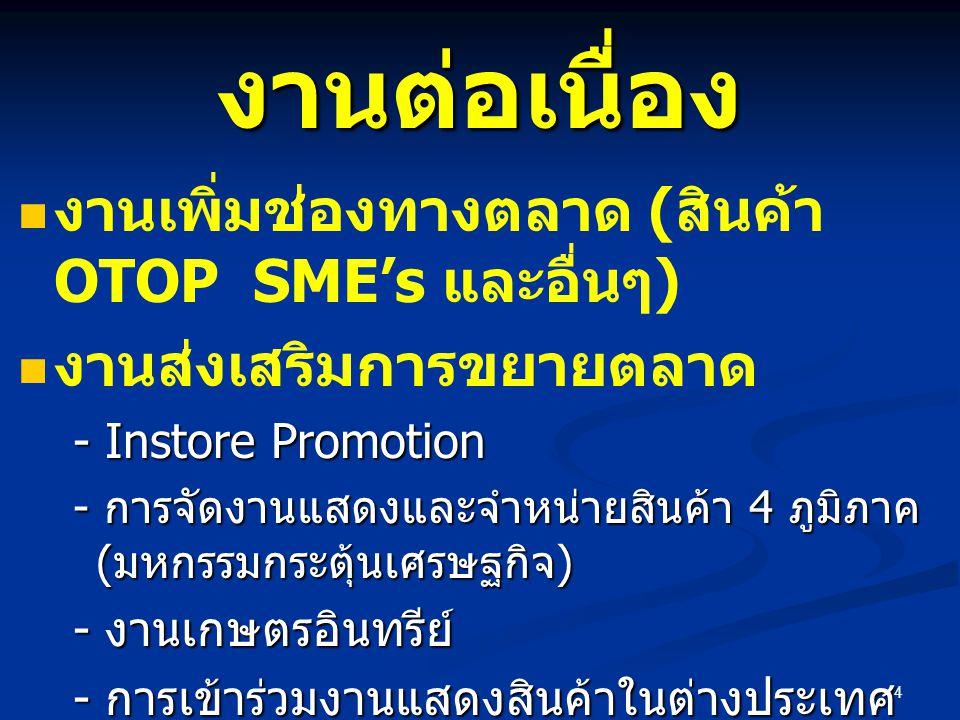 4 งานต่อเนื่อง งานเพิ่มช่องทางตลาด ( สินค้า OTOP SME's และอื่นๆ ) งานส่งเสริมการขยายตลาด - Instore Promotion - การจัดงานแสดงและจำหน่ายสินค้า 4 ภูมิภาค ( มหกรรมกระตุ้นเศรษฐกิจ ) - งานเกษตรอินทรีย์ - การเข้าร่วมงานแสดงสินค้าในต่างประเทศ - งาน Contract Farming