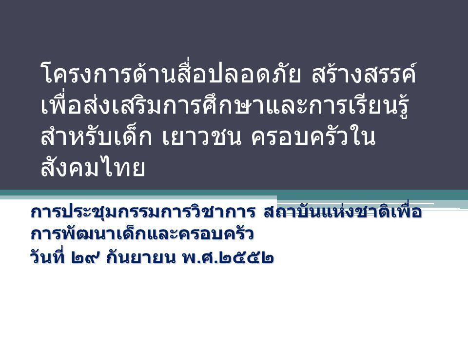 โครงการด้านสื่อปลอดภัย สร้างสรรค์ เพื่อส่งเสริมการศึกษาและการเรียนรู้ สำหรับเด็ก เยาวชน ครอบครัวใน สังคมไทย การประชุมกรรมการวิชาการ สถาบันแห่งชาติเพื่อ การพัฒนาเด็กและครอบครัว วันที่ ๒๙ กันยายน พ.