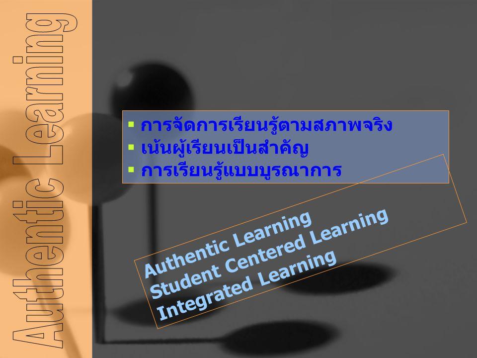  การจัดการเรียนรู้ตามสภาพจริง  เน้นผู้เรียนเป็นสำคัญ  การเรียนรู้แบบบูรณาการ Authentic Learning Student Centered Learning Integrated Learning