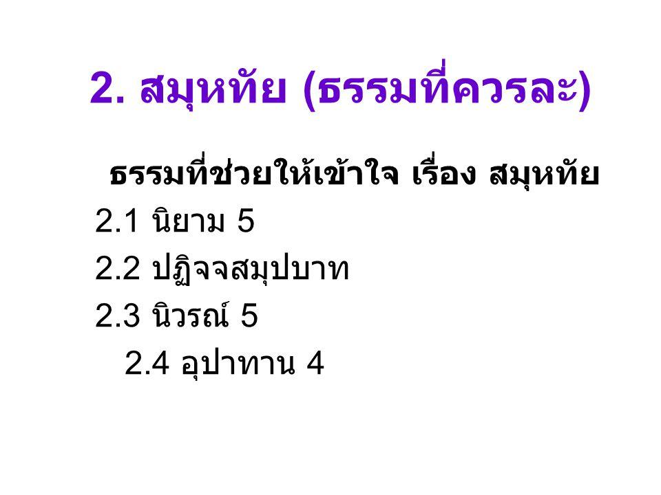 2. สมุหทัย ( ธรรมที่ควรละ ) ธรรมที่ช่วยให้เข้าใจ เรื่อง สมุหทัย 2.1 นิยาม 5 2.2 ปฏิจจสมุปบาท 2.3 นิวรณ์ 5 2.4 อุปาทาน 4