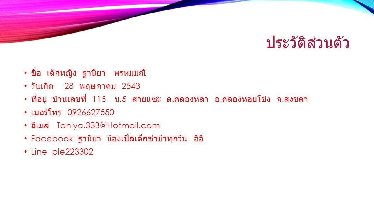 ประวัติส่วนตัว ชื่อ เด็กหญิง ฐานิยา พรหมมณี วันเกิด 28 พฤษภาคม 2543 ที่อยู่ บ้านเลขที่ 115 ม.5 สายแซะ ต.