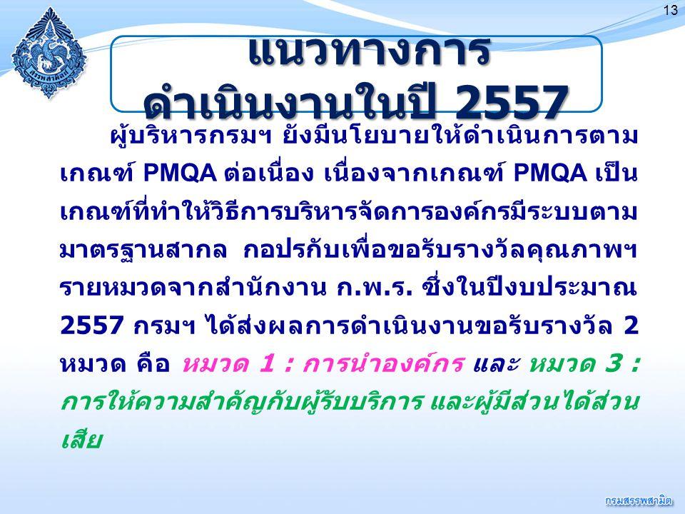 13 ผู้บริหารกรมฯ ยังมีนโยบายให้ดำเนินการตาม เกณฑ์ PMQA ต่อเนื่อง เนื่องจากเกณฑ์ PMQA เป็น เกณฑ์ที่ทำให้วิธีการบริหารจัดการองค์กรมีระบบตาม มาตรฐานสากล