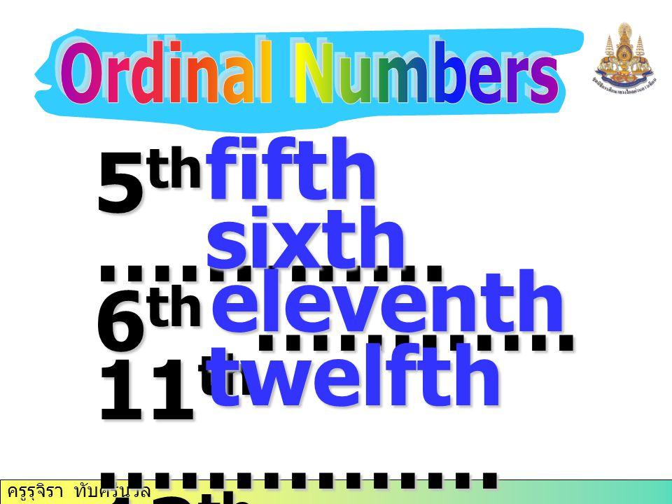 ครูรุจิรา ทับศรีนวล 5 th …………. 6 th ………… 11 th …………… 12 th ………… … fifth sixth eleventh twelfth