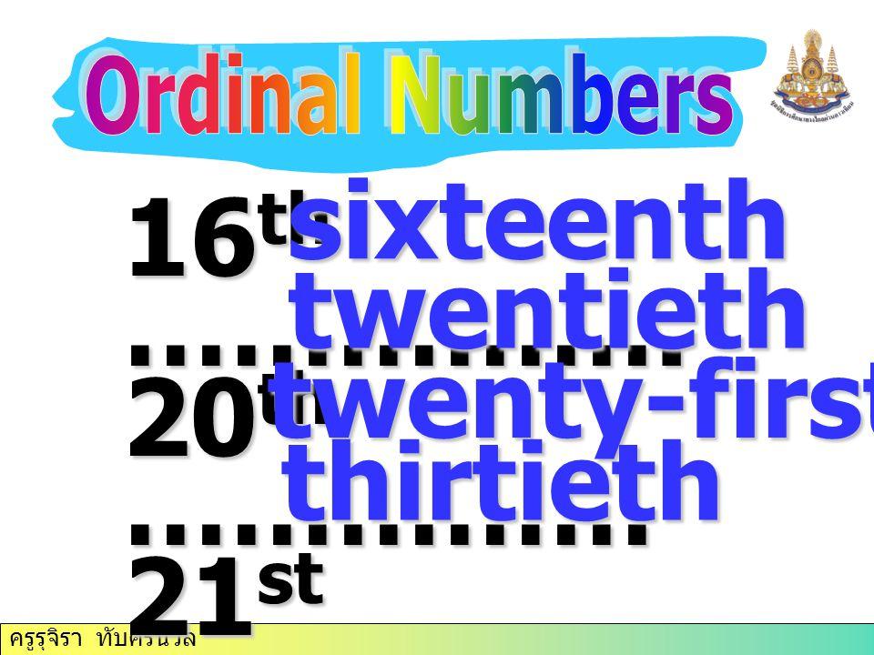 ครูรุจิรา ทับศรีนวล 16 th ……………. 20 th …………… 21 st ……………. 30 th ……………. sixteenth twentieth twenty-first thirtieth