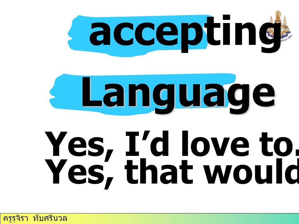 ครูรุจิรา ทับศรีนวล accepting Language Yes, I'd love to. Yes, that would be great.