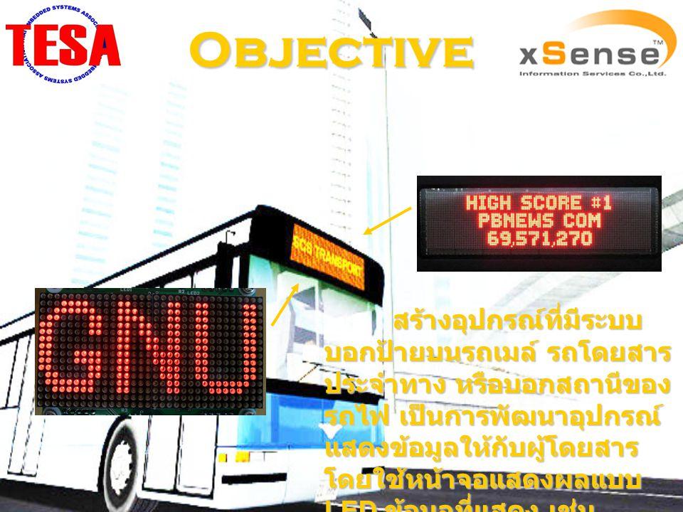 Objective สร้างอุปกรณ์ที่มีระบบ บอกป้ายบนรถเมล์ รถโดยสาร ประจำทาง หรือบอกสถานีของ รถไฟ เป็นการพัฒนาอุปกรณ์ แสดงข้อมูลให้กับผู้โดยสาร โดยใช้หน้าจอแสดงผ