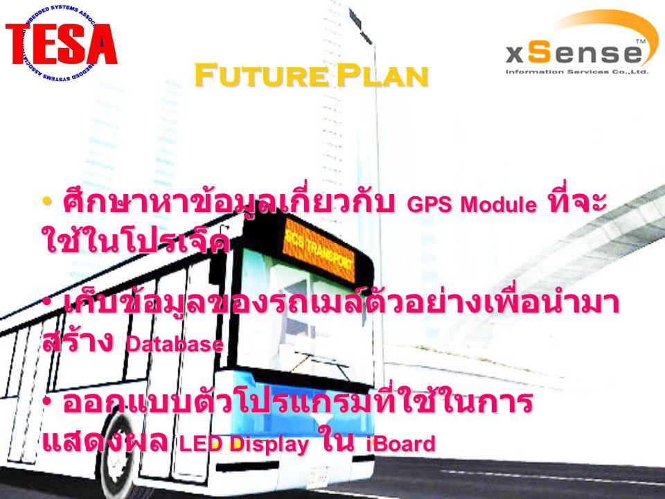 Future Plan ศึกษาหาข้อมูลเกี่ยวกับ GPS Module ที่จะ ใช้ในโปรเจ็ค ศึกษาหาข้อมูลเกี่ยวกับ GPS Module ที่จะ ใช้ในโปรเจ็ค เก็บข้อมูลของรถเมล์ตัวอย่างเพื่อ